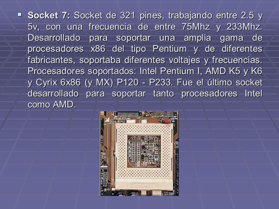 Socket 7: Socket de 321 pines, trabajando entre 2