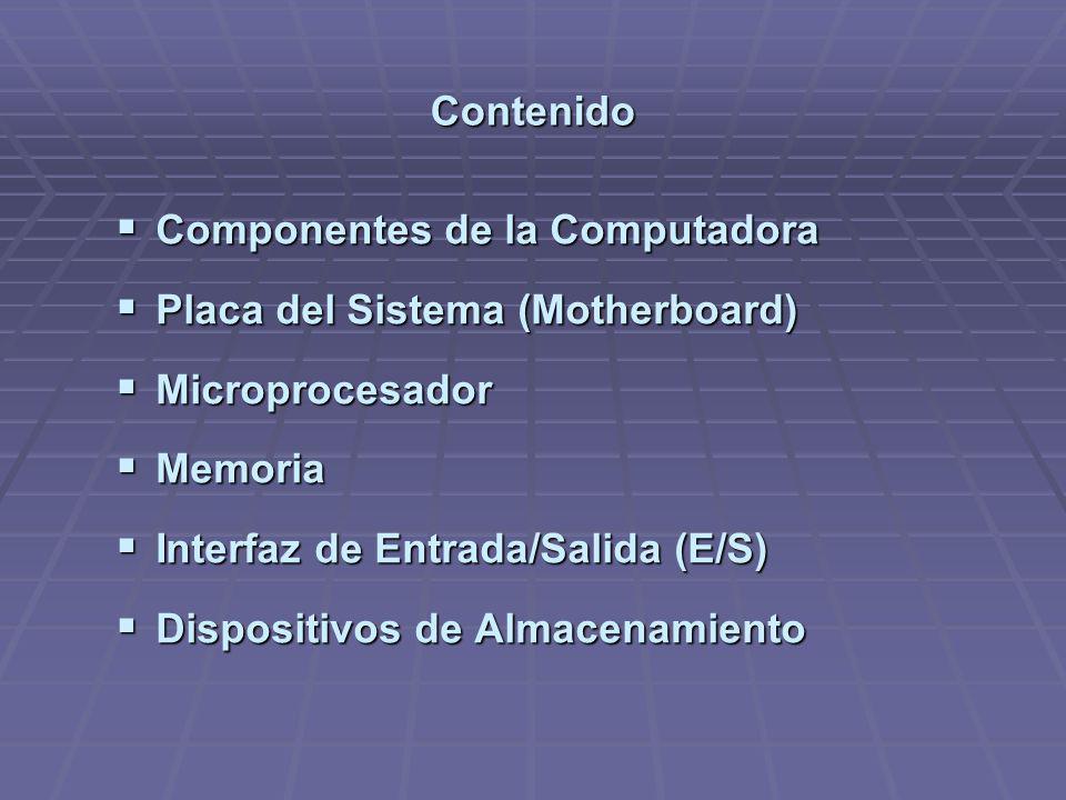Contenido Componentes de la Computadora. Placa del Sistema (Motherboard) Microprocesador. Memoria.
