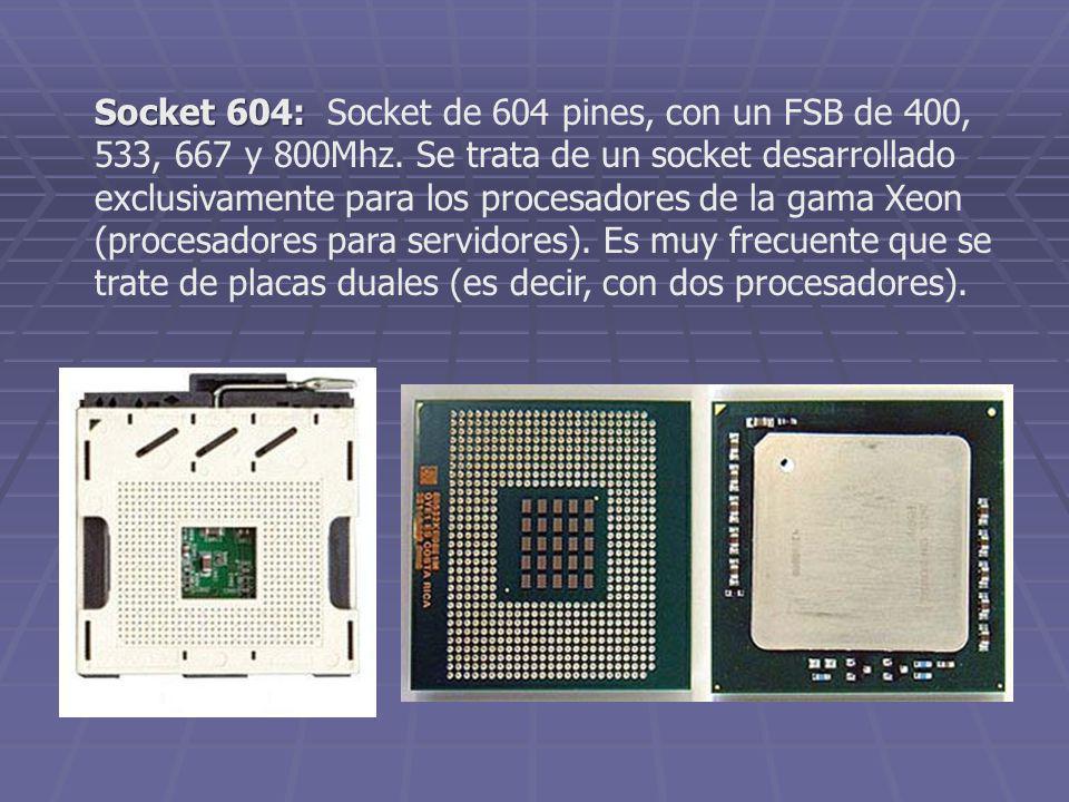 Socket 604: Socket de 604 pines, con un FSB de 400, 533, 667 y 800Mhz