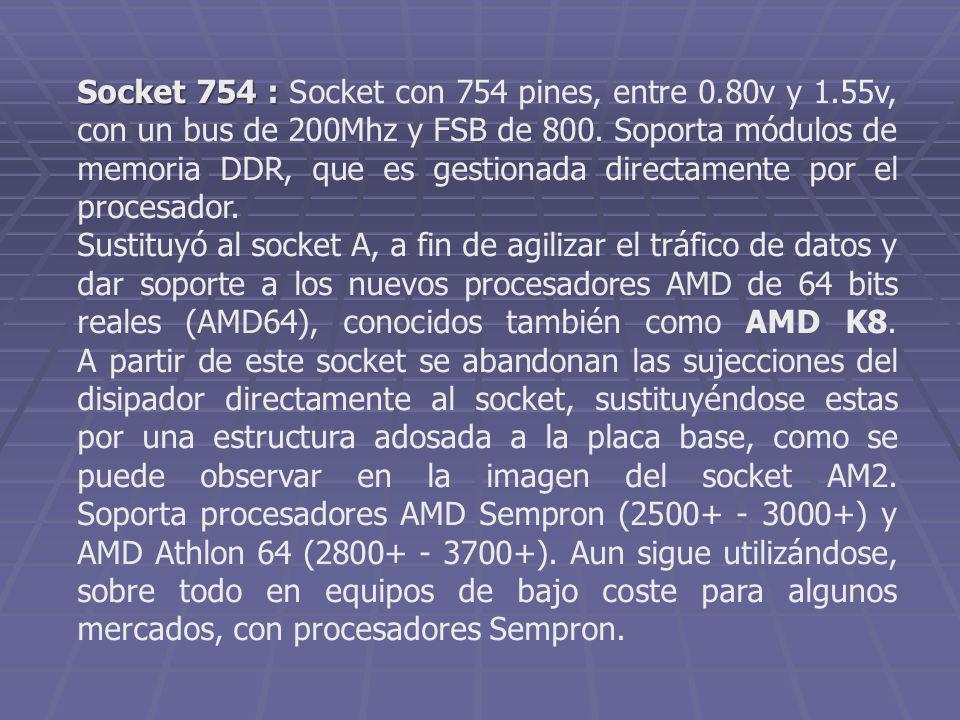 Socket 754 : Socket con 754 pines, entre 0. 80v y 1