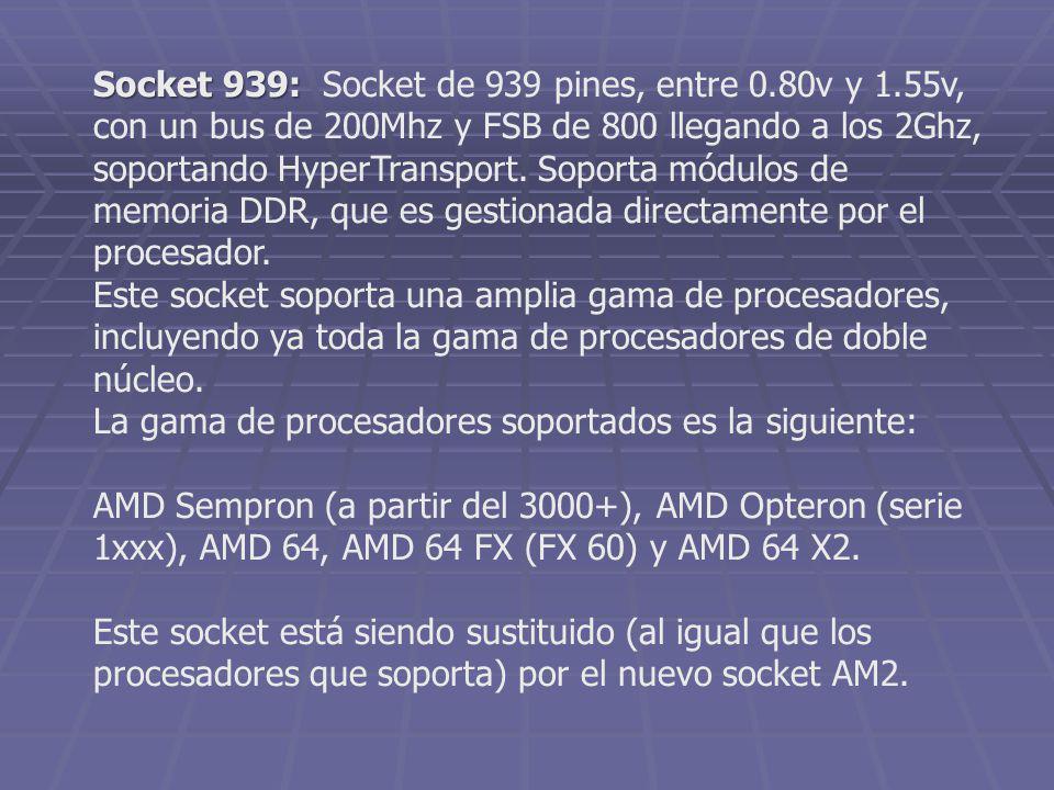 Socket 939: Socket de 939 pines, entre 0. 80v y 1