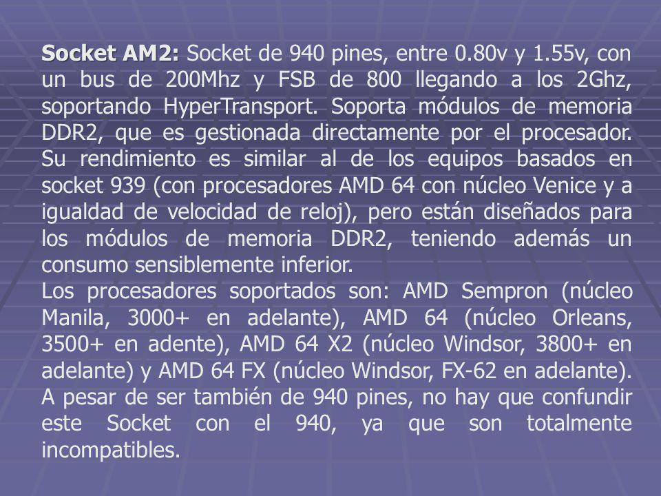 Socket AM2: Socket de 940 pines, entre 0. 80v y 1
