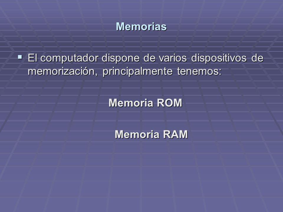 Memorias El computador dispone de varios dispositivos de memorización, principalmente tenemos: Memoria ROM.