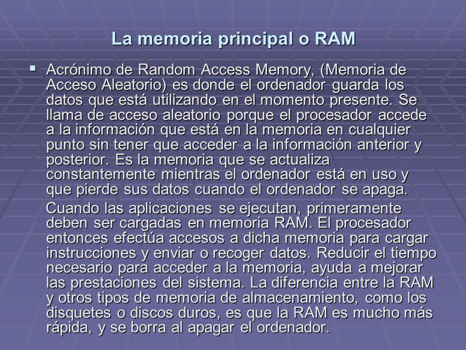 La memoria principal o RAM