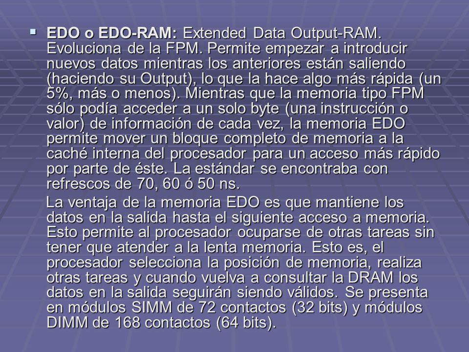 EDO o EDO-RAM: Extended Data Output-RAM. Evoluciona de la FPM