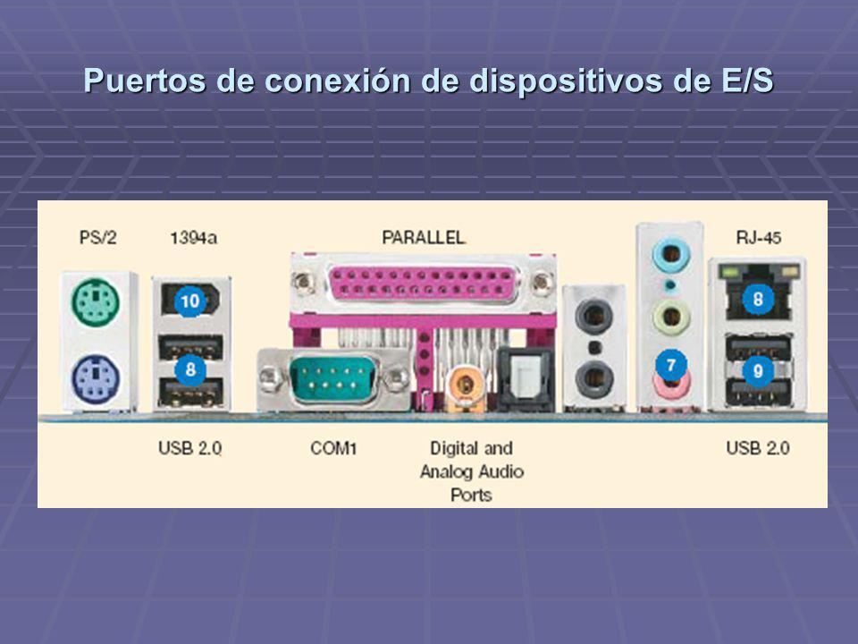 Puertos de conexión de dispositivos de E/S