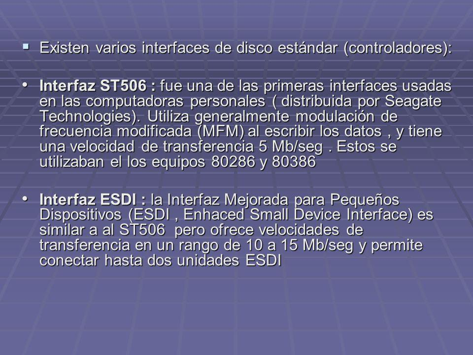 Existen varios interfaces de disco estándar (controladores):