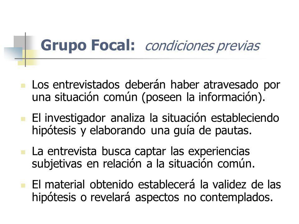 Grupo Focal: condiciones previas