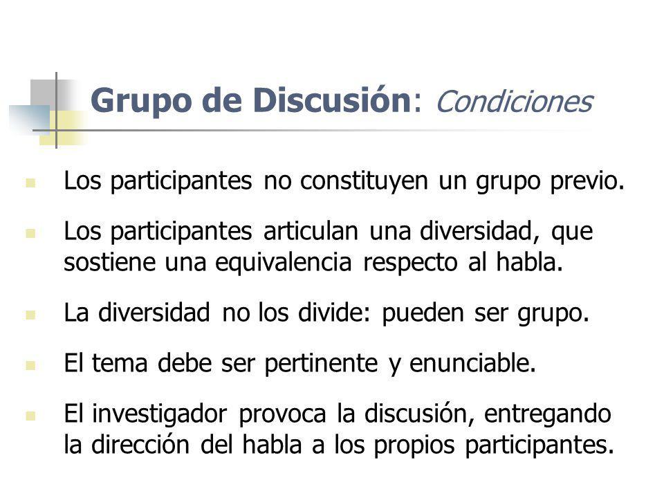 Grupo de Discusión: Condiciones