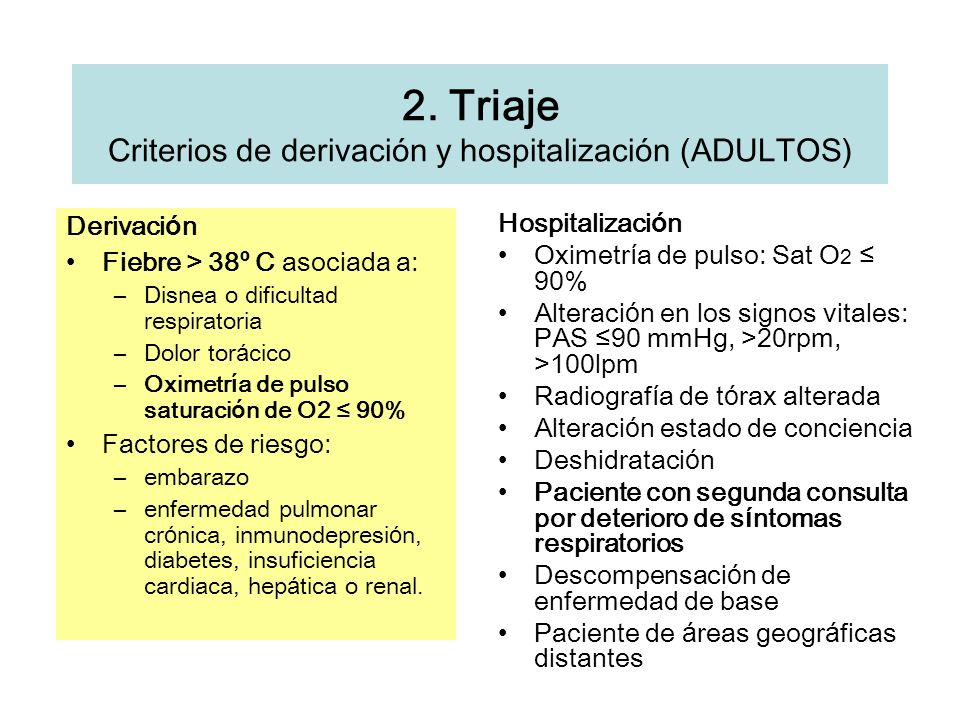 2. Triaje Criterios de derivación y hospitalización (ADULTOS)