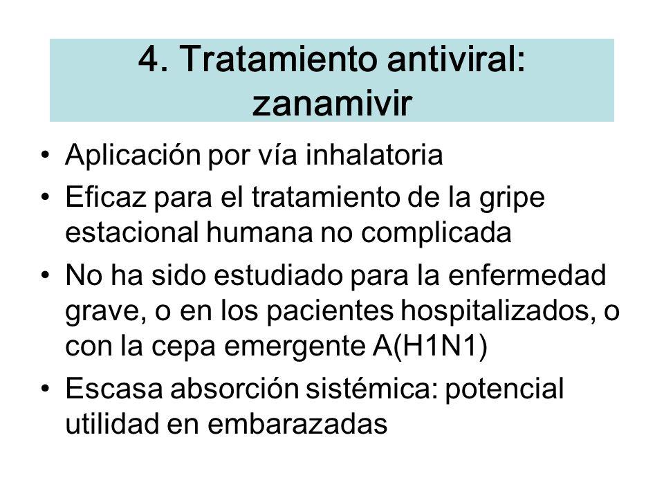 4. Tratamiento antiviral: zanamivir