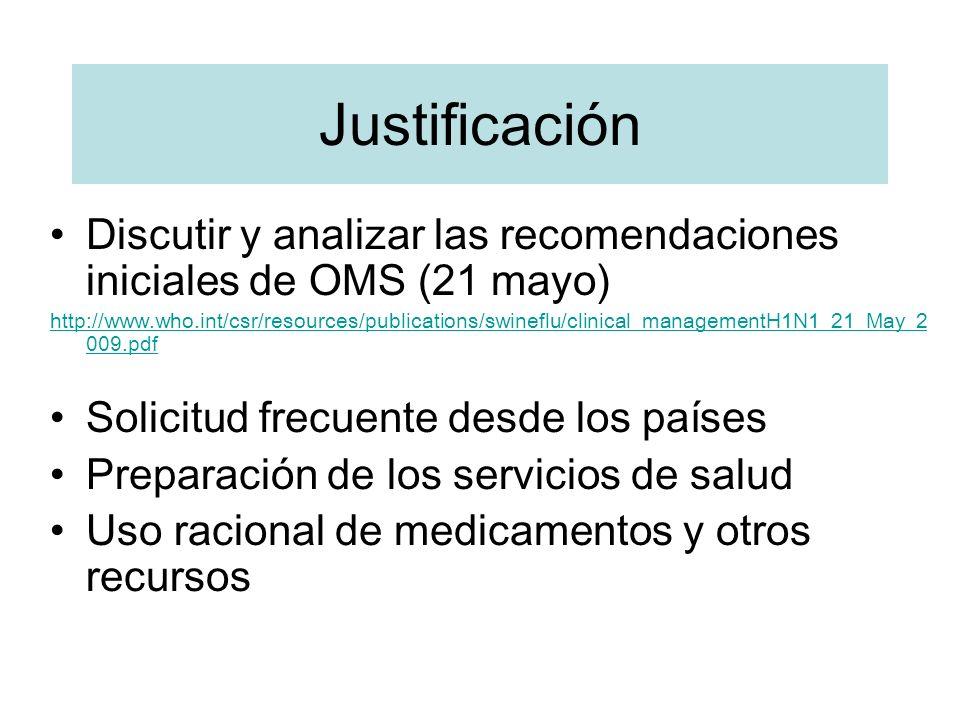 Justificación Discutir y analizar las recomendaciones iniciales de OMS (21 mayo)