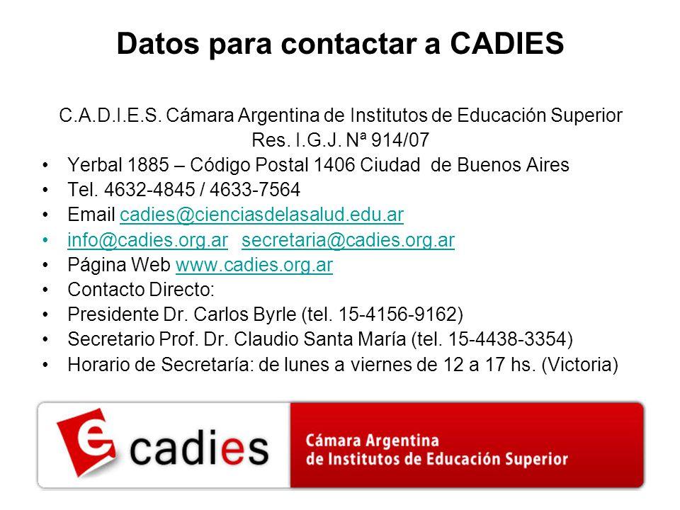 Datos para contactar a CADIES