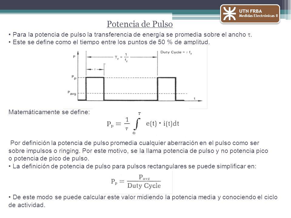 UTN FRBA Medidas Electrónicas II. Potencia de Pulso. Para la potencia de pulso la transferencia de energía se promedia sobre el ancho t.
