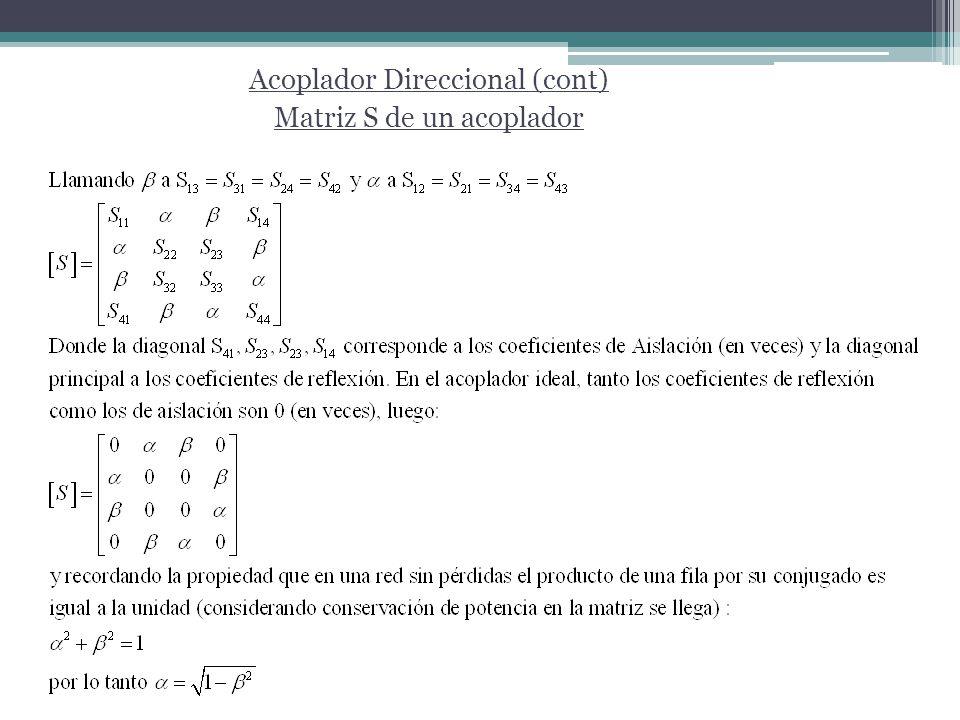 Acoplador Direccional (cont) Matriz S de un acoplador