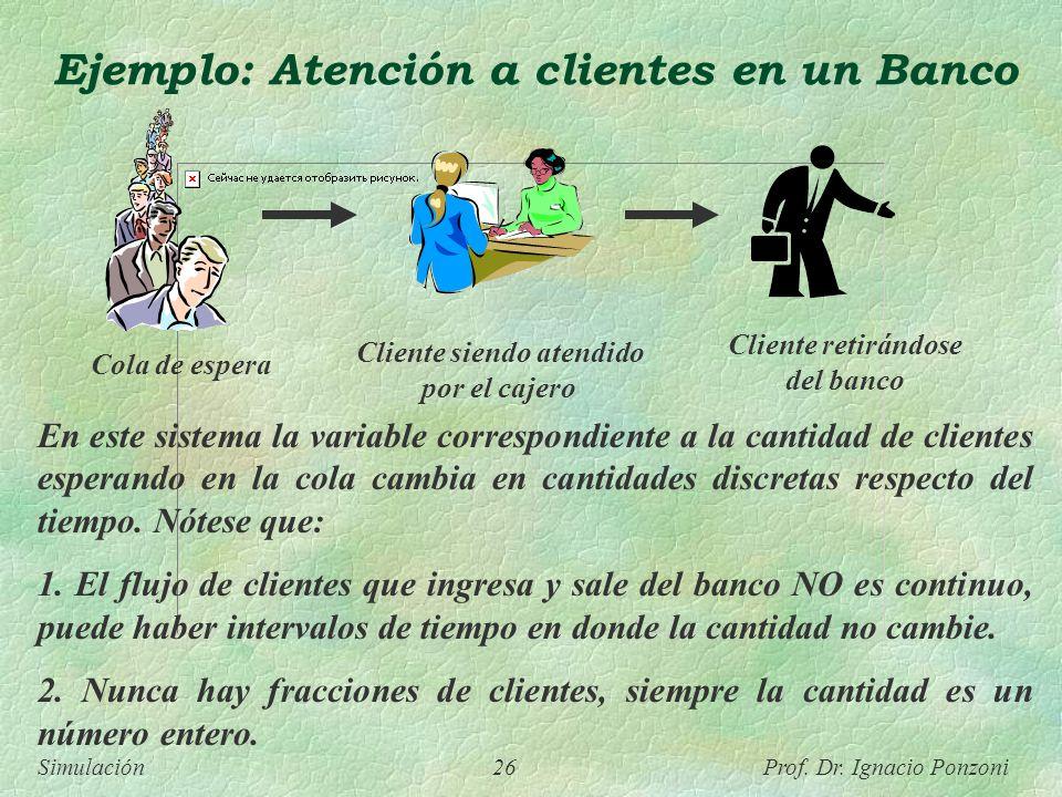 Ejemplo: Atención a clientes en un Banco