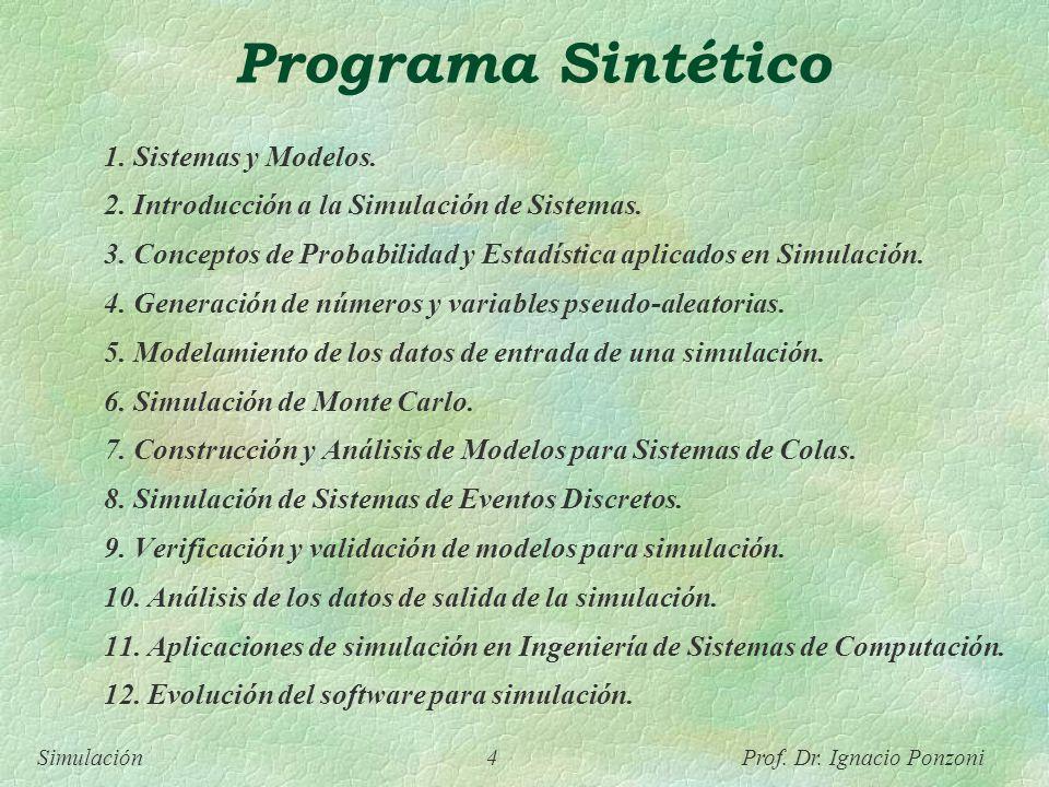 Programa Sintético 1. Sistemas y Modelos.
