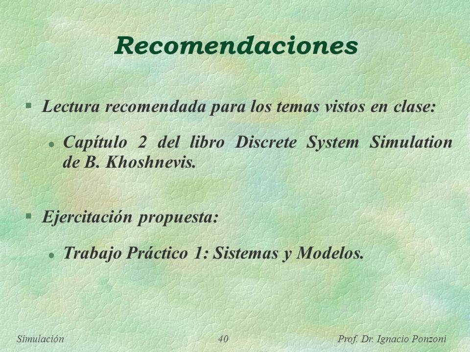 Recomendaciones Lectura recomendada para los temas vistos en clase:
