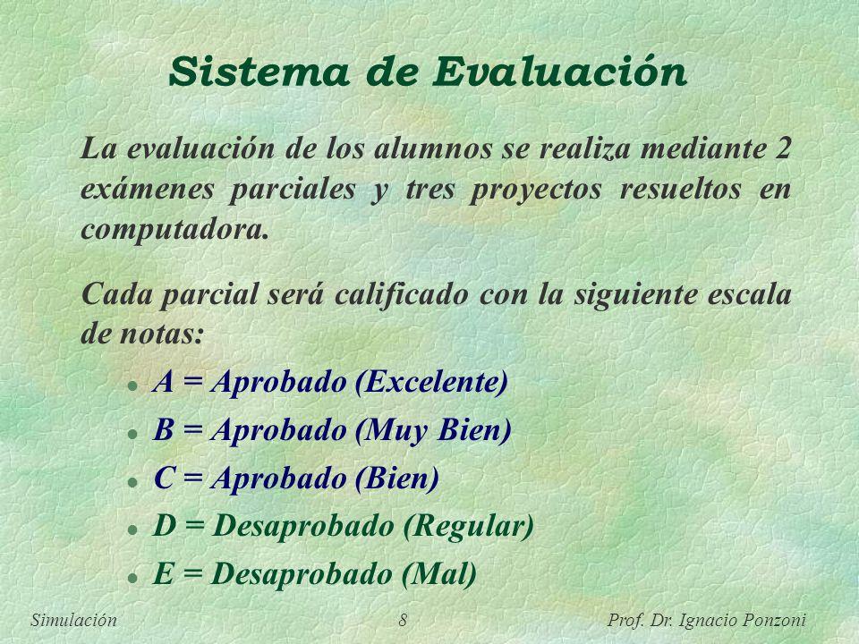 Sistema de Evaluación La evaluación de los alumnos se realiza mediante 2 exámenes parciales y tres proyectos resueltos en computadora.