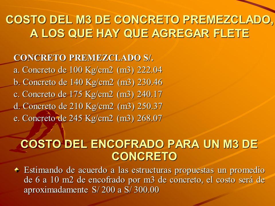 COSTO DEL M3 DE CONCRETO PREMEZCLADO, A LOS QUE HAY QUE AGREGAR FLETE