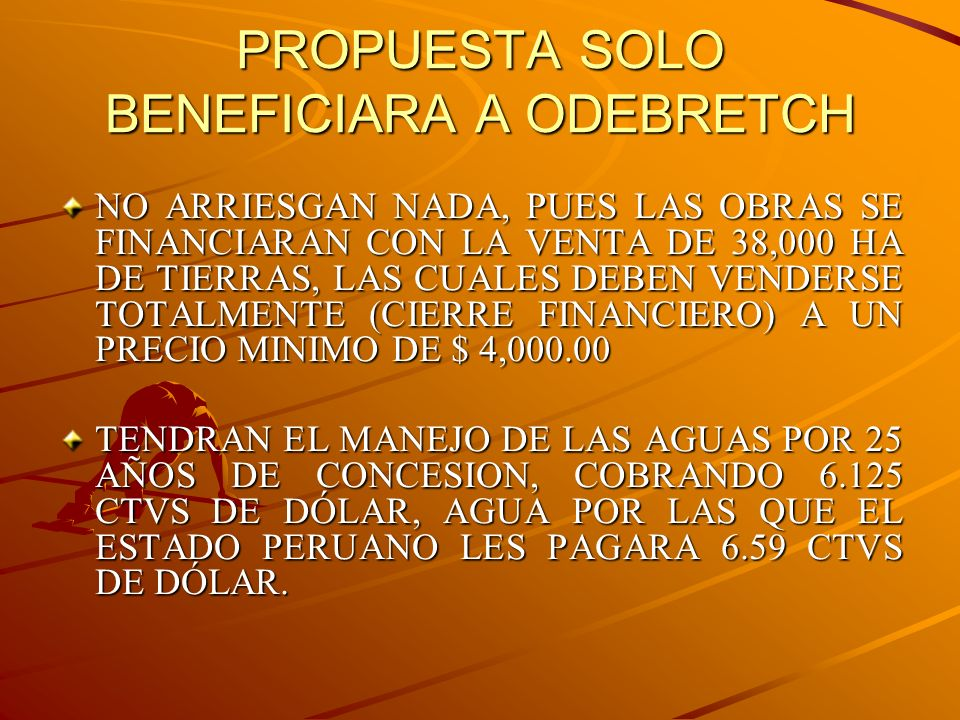 PROPUESTA SOLO BENEFICIARA A ODEBRETCH
