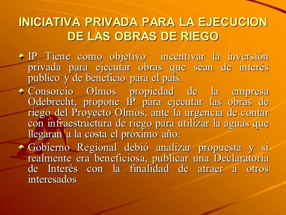 INICIATIVA PRIVADA PARA LA EJECUCION DE LAS OBRAS DE RIEGO