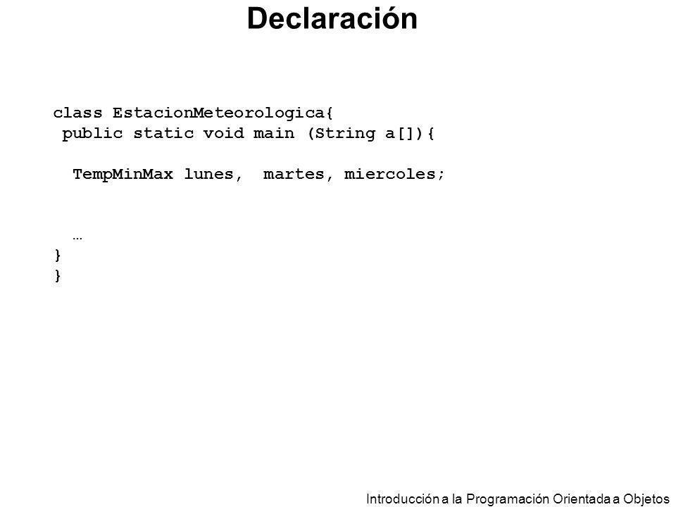 Declaración class EstacionMeteorologica{