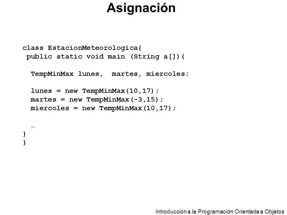 Asignación class EstacionMeteorologica{