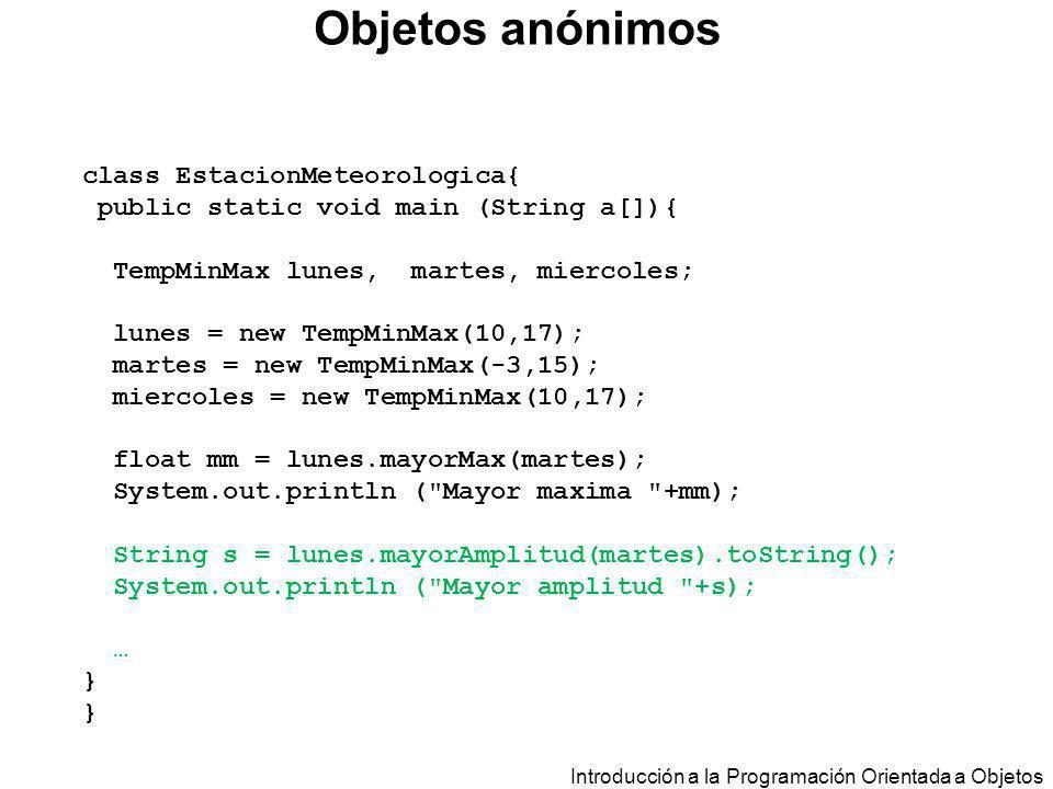 Objetos anónimos class EstacionMeteorologica{