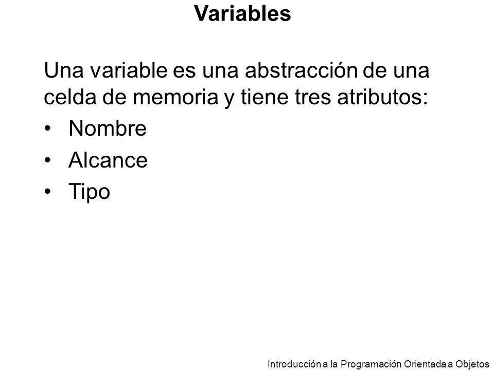 Variables Una variable es una abstracción de una celda de memoria y tiene tres atributos: Nombre. Alcance.