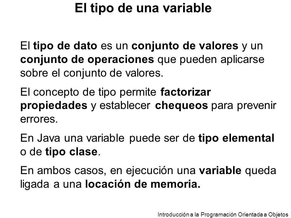 El tipo de una variable El tipo de dato es un conjunto de valores y un conjunto de operaciones que pueden aplicarse sobre el conjunto de valores.