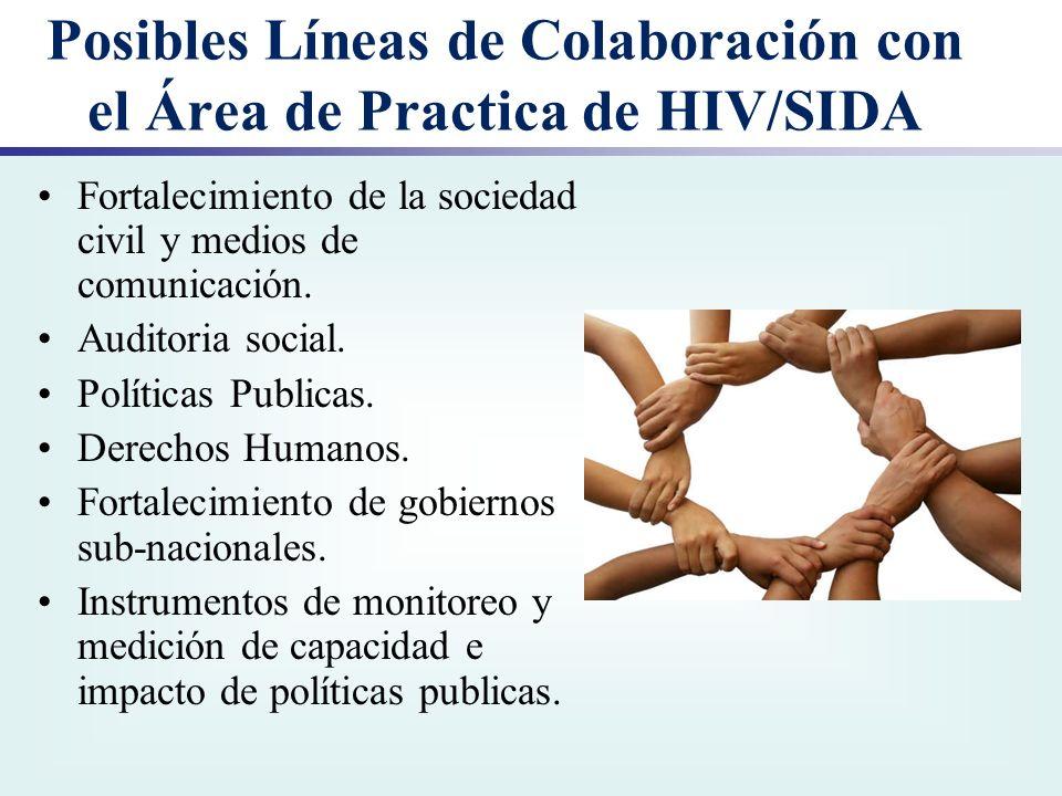 Posibles Líneas de Colaboración con el Área de Practica de HIV/SIDA