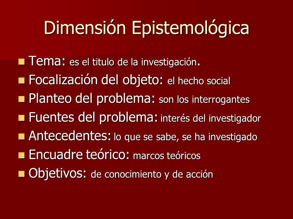 Dimensión Epistemológica