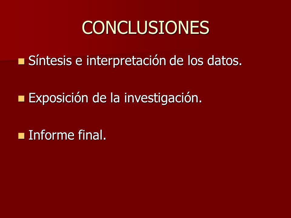 CONCLUSIONES Síntesis e interpretación de los datos.