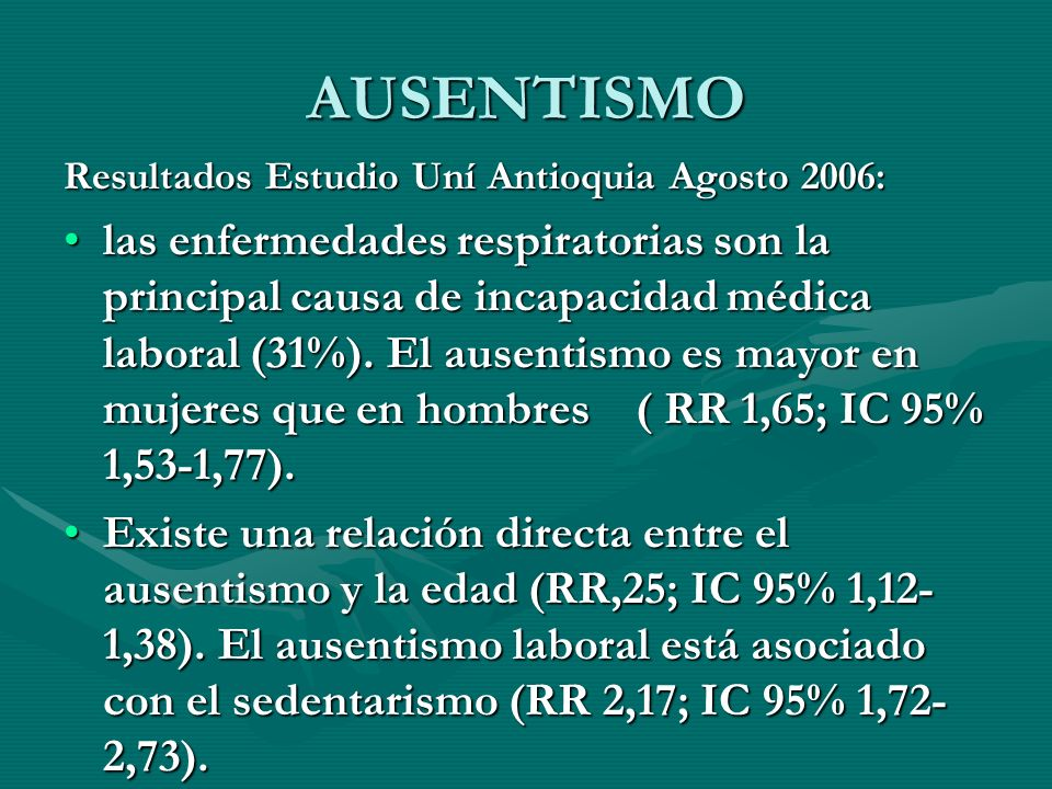 AUSENTISMO Resultados Estudio Uní Antioquia Agosto 2006: