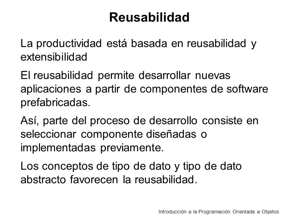 Reusabilidad La productividad está basada en reusabilidad y extensibilidad.