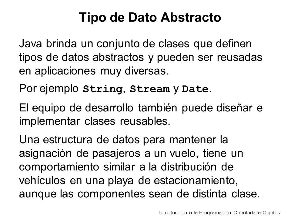 Tipo de Dato Abstracto Java brinda un conjunto de clases que definen tipos de datos abstractos y pueden ser reusadas en aplicaciones muy diversas.