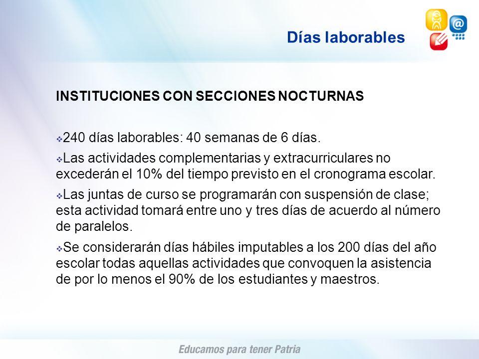 Días laborables INSTITUCIONES CON SECCIONES NOCTURNAS