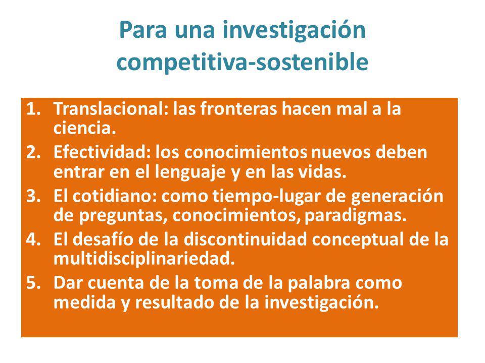 Para una investigación competitiva-sostenible