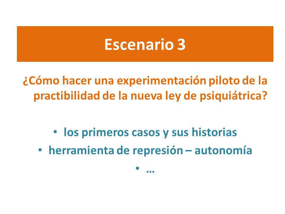 Escenario 3 ¿Cómo hacer una experimentación piloto de la practibilidad de la nueva ley de psiquiátrica
