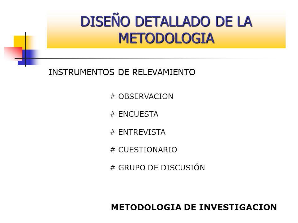 DISEÑO DETALLADO DE LA METODOLOGIA