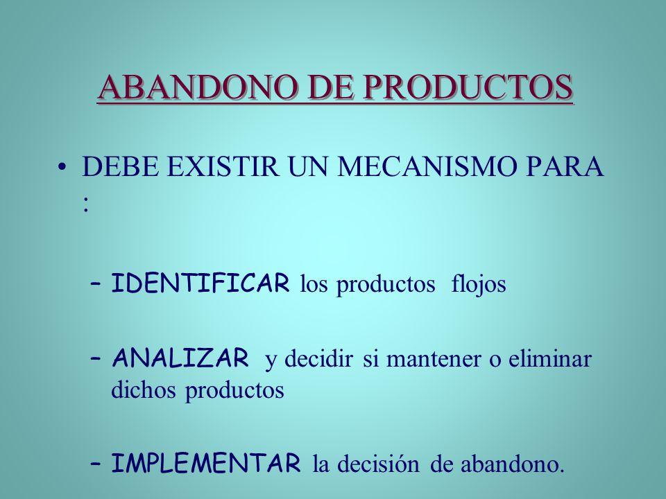 ABANDONO DE PRODUCTOS DEBE EXISTIR UN MECANISMO PARA :