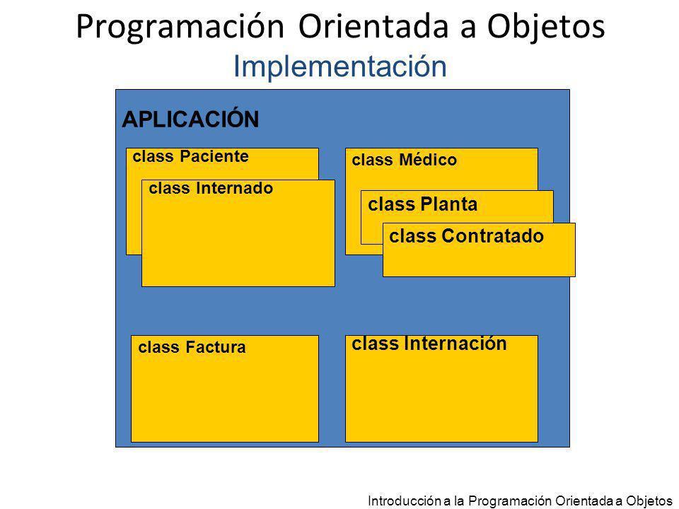 Programación Orientada a Objetos Implementación