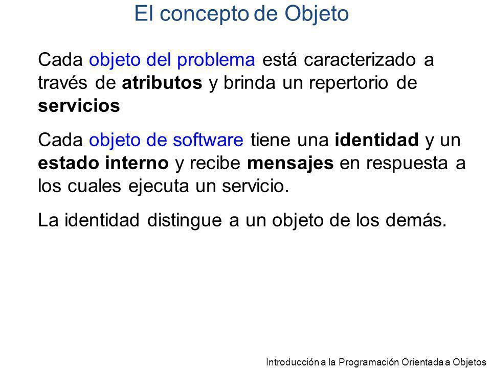 El concepto de Objeto Cada objeto del problema está caracterizado a través de atributos y brinda un repertorio de servicios.