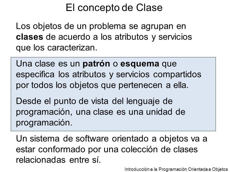 El concepto de Clase Los objetos de un problema se agrupan en clases de acuerdo a los atributos y servicios que los caracterizan.