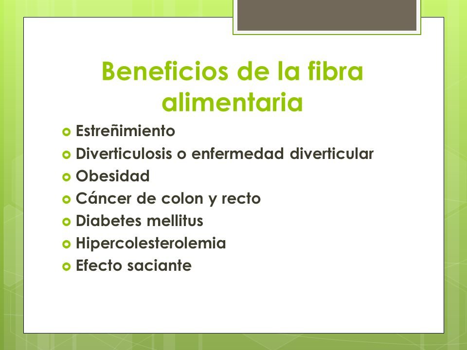 Beneficios de la fibra alimentaria