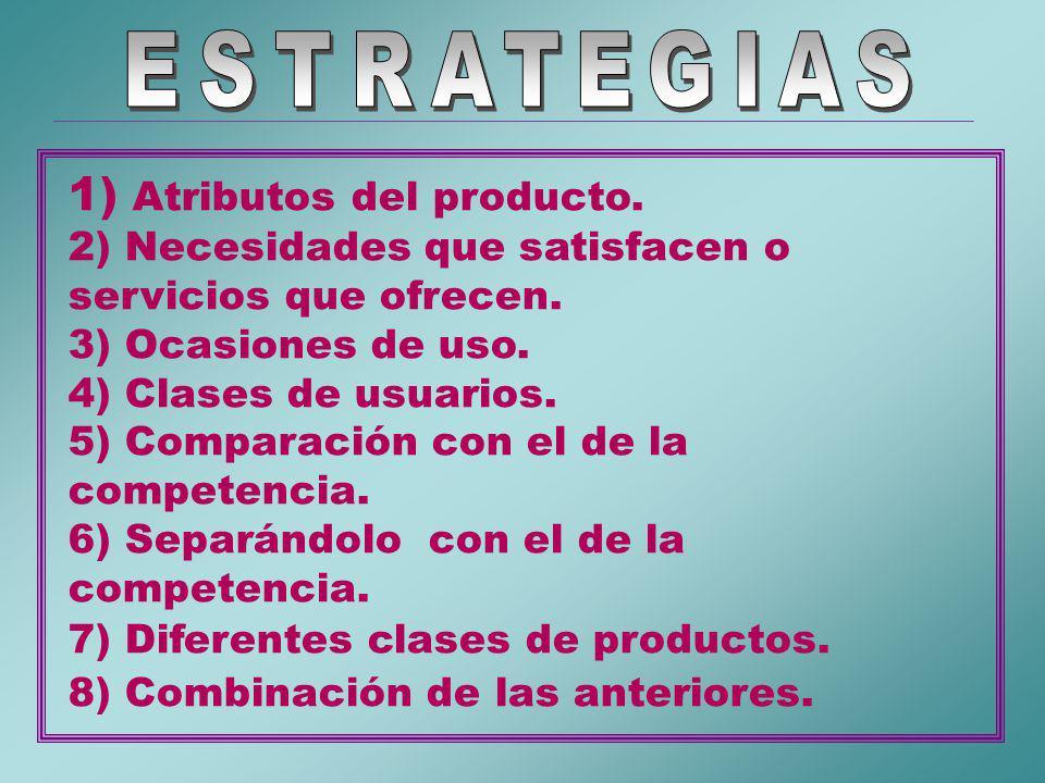 1) Atributos del producto.