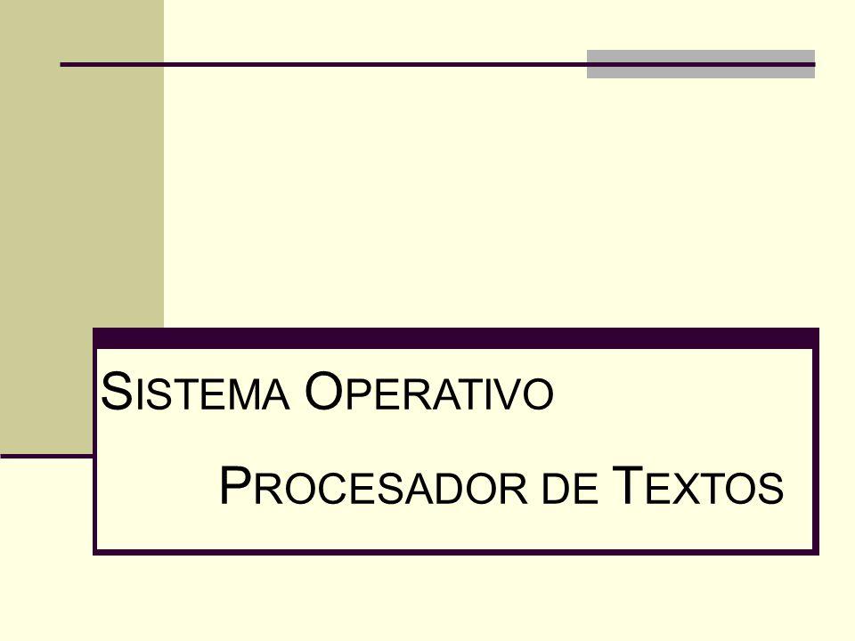 SISTEMA OPERATIVO PROCESADOR DE TEXTOS