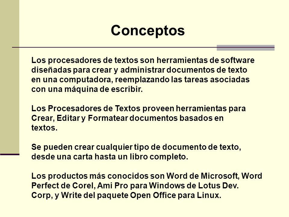 Conceptos Los procesadores de textos son herramientas de software