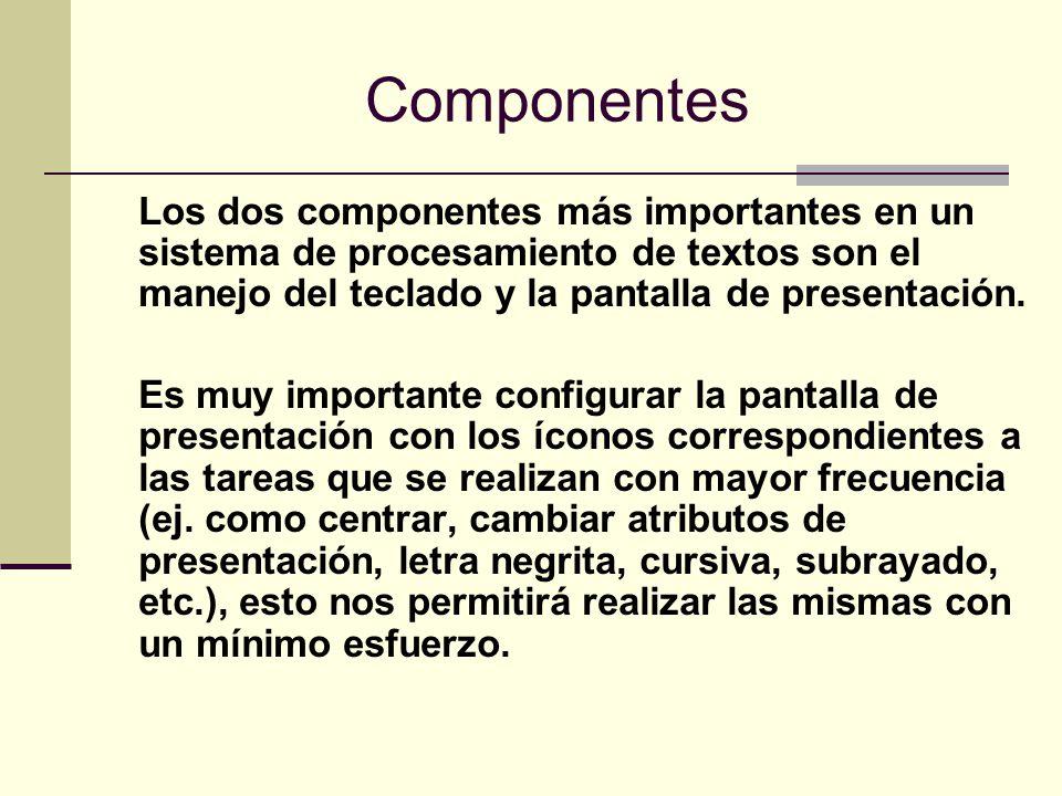 Componentes Los dos componentes más importantes en un sistema de procesamiento de textos son el manejo del teclado y la pantalla de presentación.